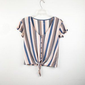AMERICAN EAGLE Front Tie Stripe Top Button Front